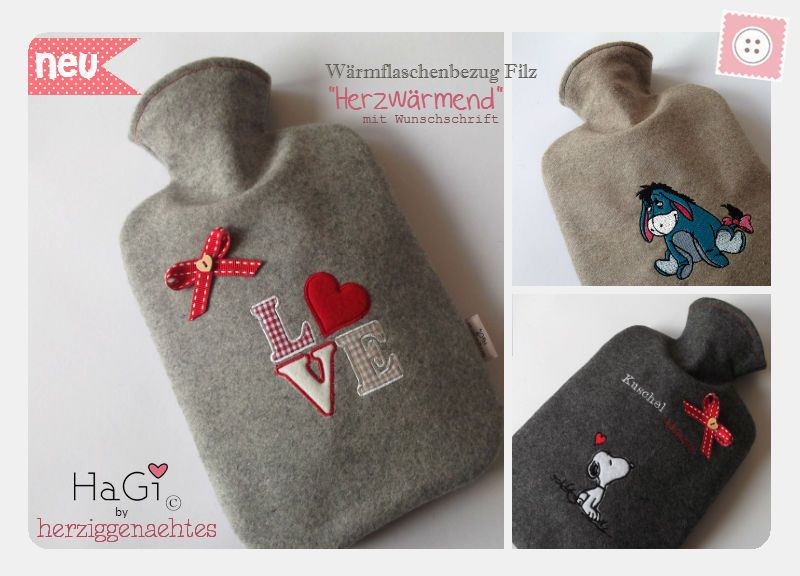 Wärmflaschenbezug Filz Herzwärmend Kuschelalarm von HaGi by Herzig ♥ Genaehtes auf DaWanda.com