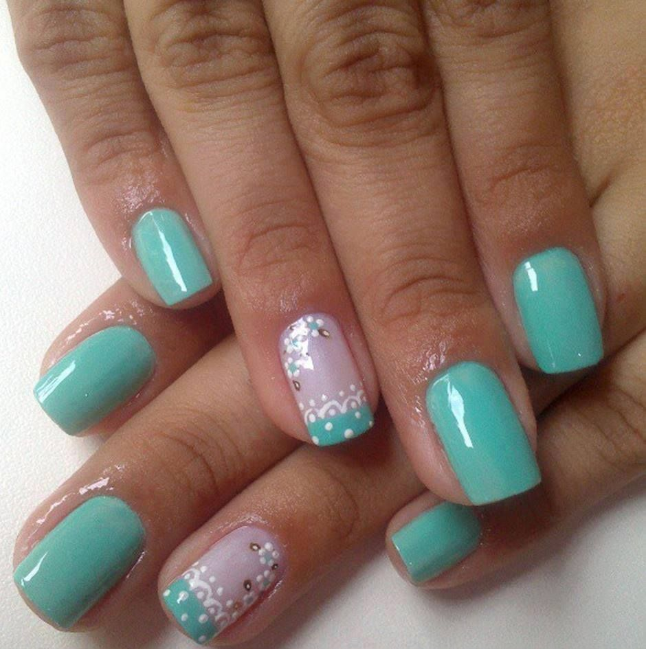 Uñas color verde menta☺ | nails | Nails 2014, Green Nails ...