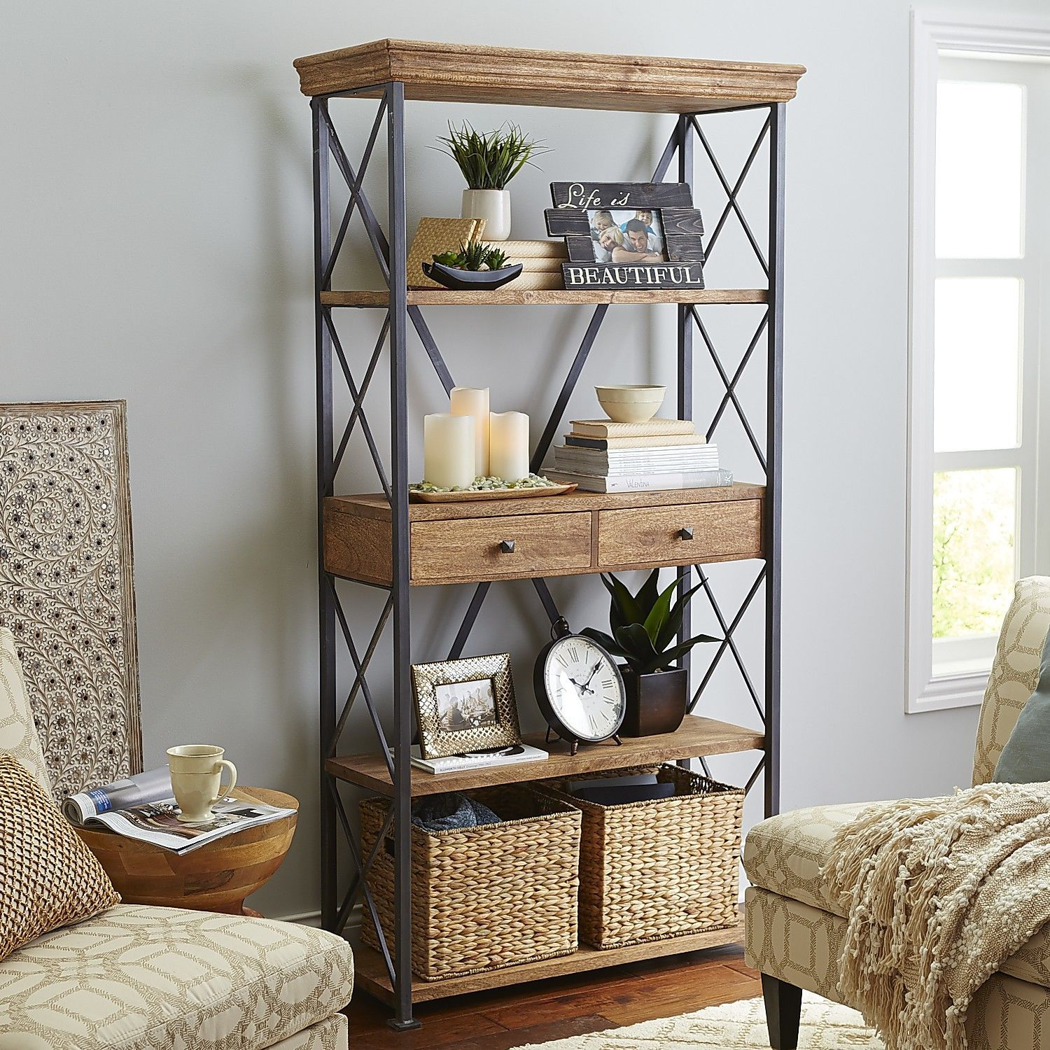 Metro Weathered Java Bookcase In 2019