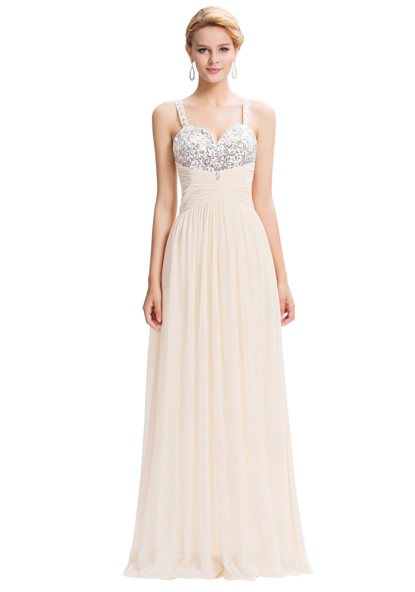 Bodenlanges Träger-Abendkleid in Creme-Beige  Abendkleid, Kleider