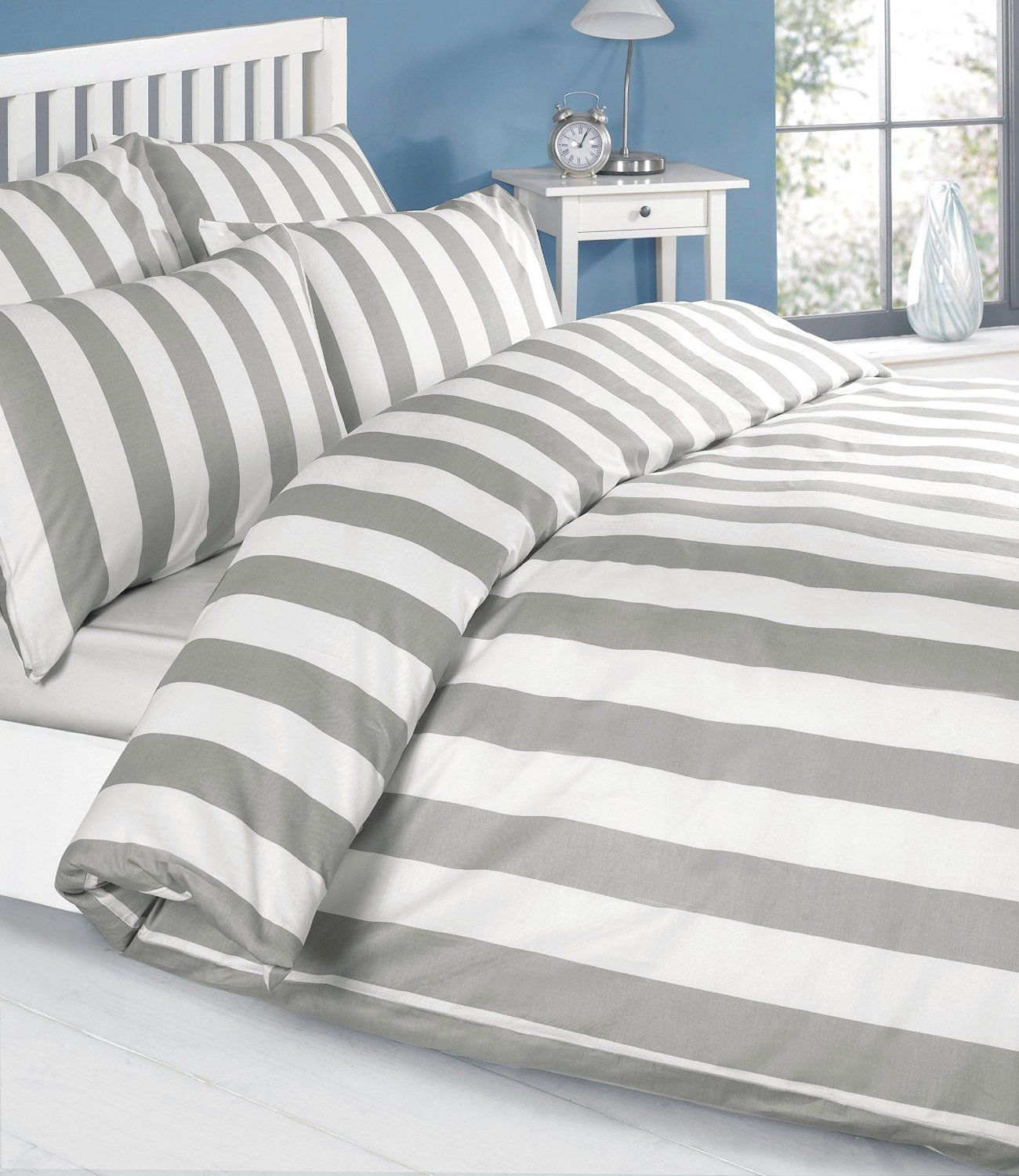 Louisiana Duvet Set Single 100 Cotton Grey Amazon Co Uk