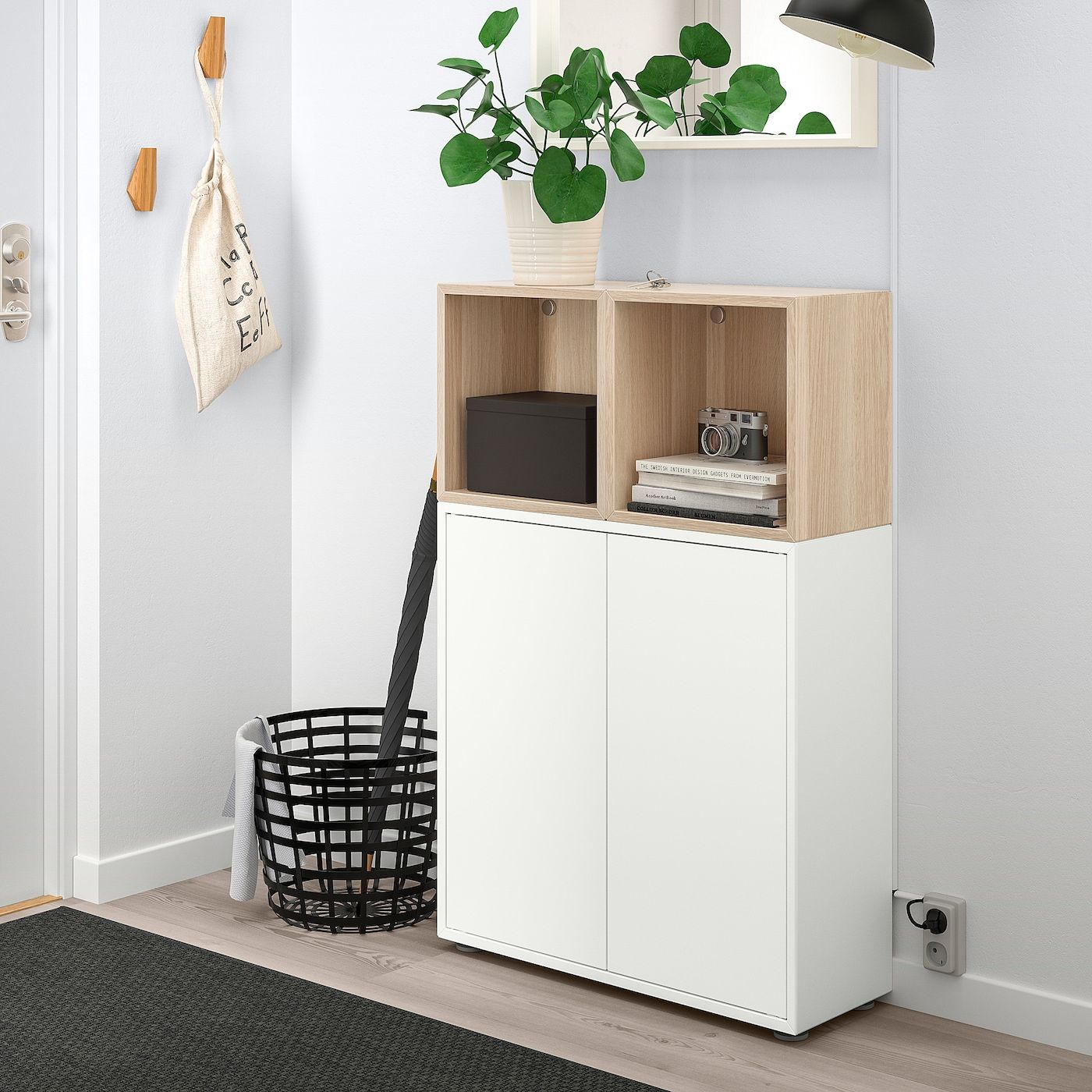 Eket Storage Combination With Feet White White Stained Oak Effect Width 27 Ikea In 2020 Eket Ikea Eket Flexible Furniture