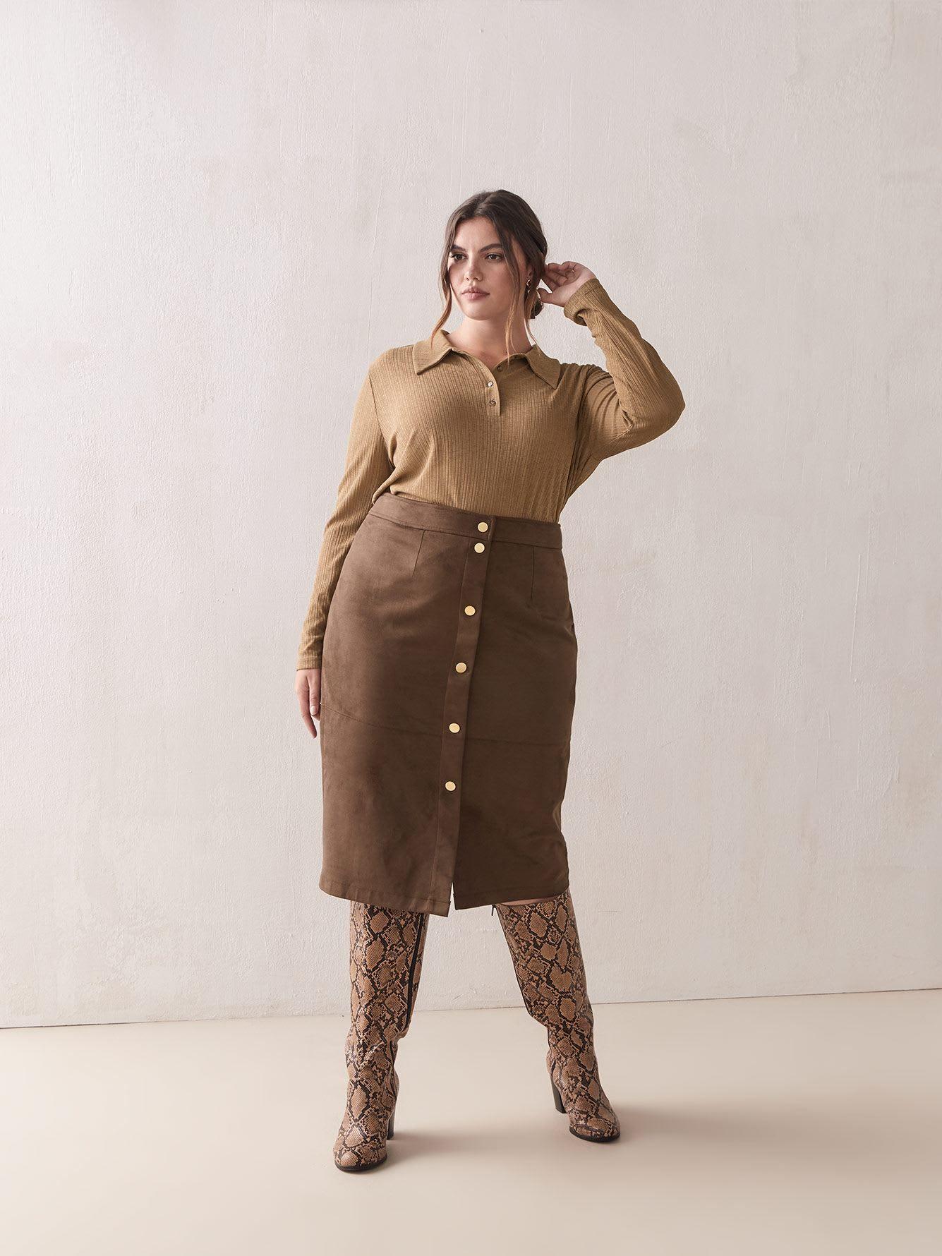 Faux Suede ButtonDown Skirt Addition Elle Vegan