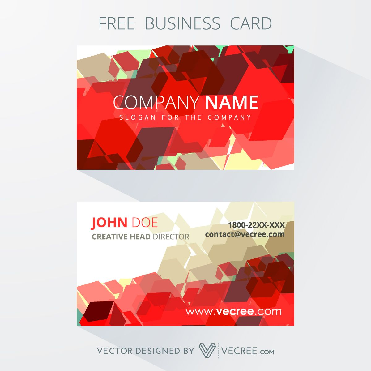 Print ready red business card design free vector httpsvecree print ready red business card design free vector httpsvecree reheart Gallery