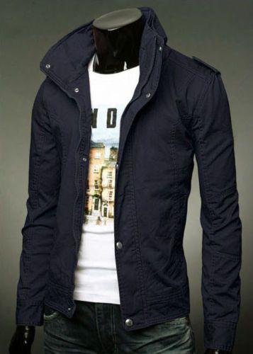New Men/'s Slim Collar Jackets Fashion Jacket Tops Casual Coat Outerwear Zipper