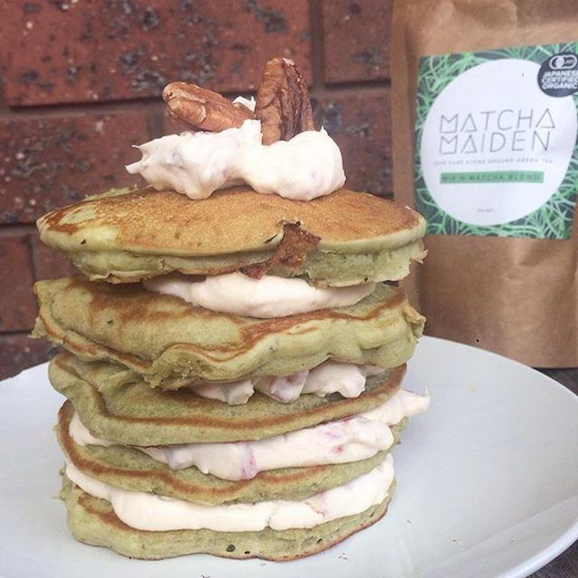 """oh how WONDERFUL! @explorewithhannah, you legend!!!! """"This morning's green tea #pancakes and of course using #mixnmatcha powder from @matcha_maiden  Layered these stacks of goodness with a #strawberry and pecan cream, so delicious!!!! """""""