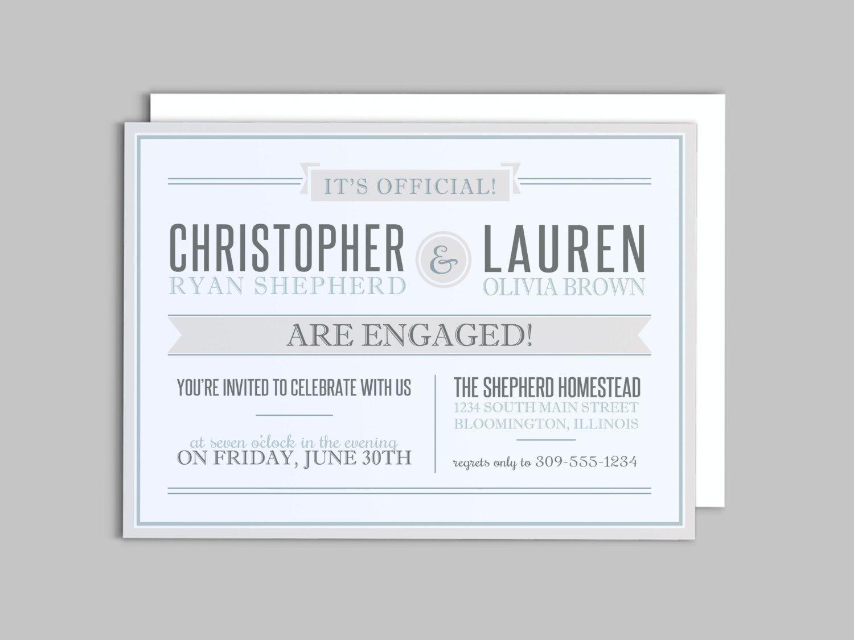 Modern Engagement Party Invitation Custom Printable by LAShepherd ...