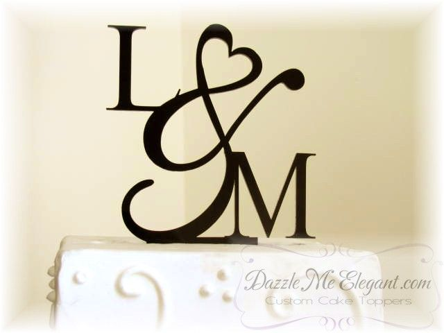 Heart Ampersand Monogram Cake Topper