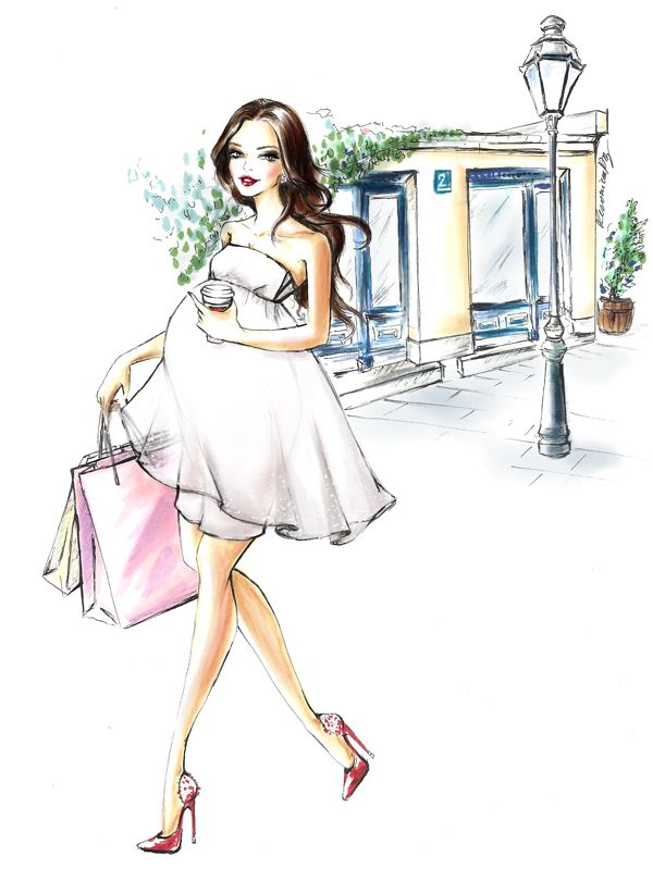 Pregnant lady shopping & having fun