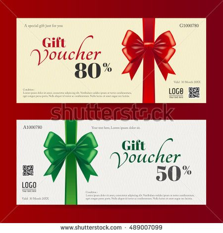 Elegant christmas gift card or gift voucher template with shiny red
