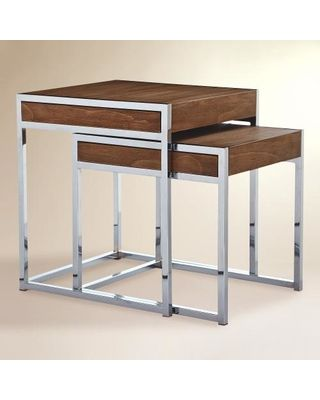 Attractive Wood And Chrome Pierceson Nesting Tables, Set Of 2: Brown By World Market  From Cost Plus World Market