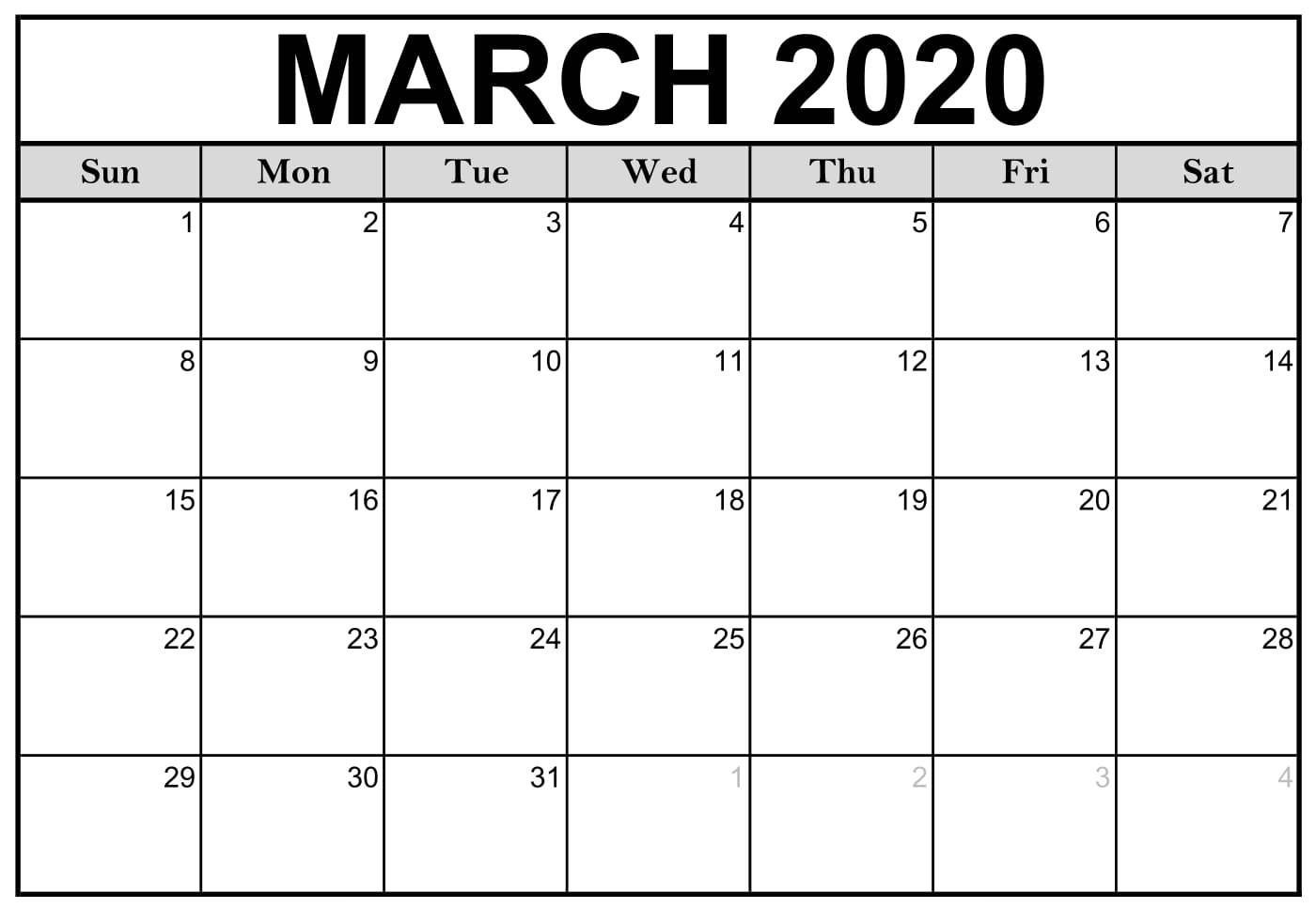 Editable March Calendar 2020 Blank Template Free Download In 2020