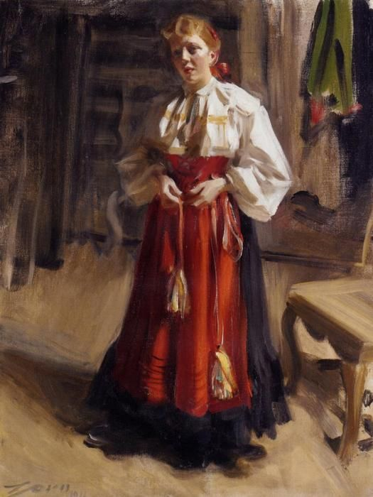 Girl in an Orsa Costume, Oil On Canvas by Anders Zorn (1860-1920, Sweden)