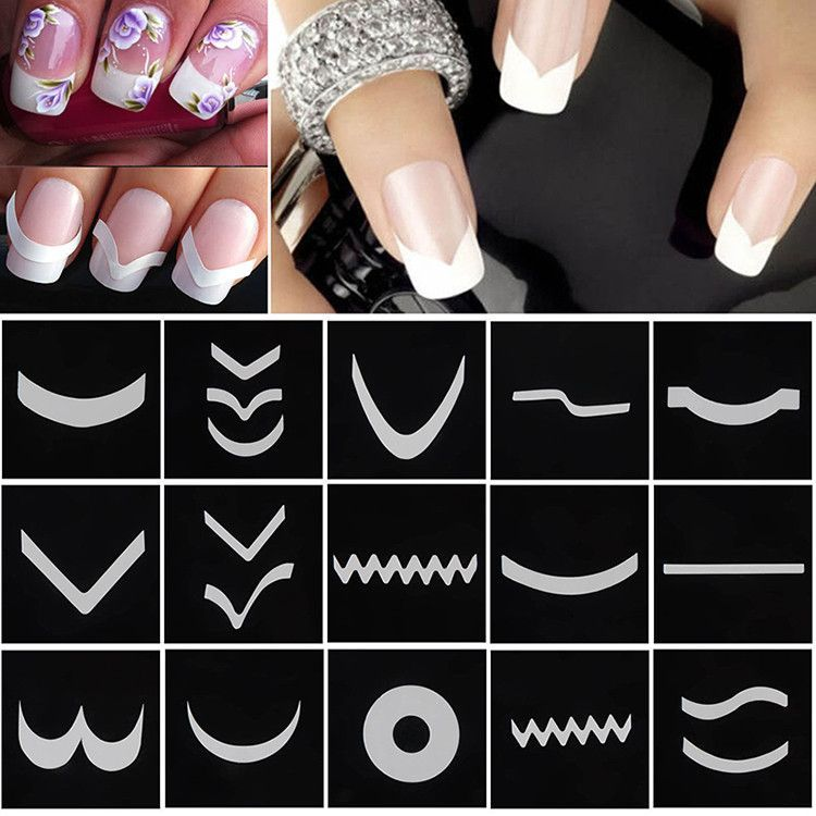 18 sheetsset french manicure diy nail art tips guides stickers 18 sheetsset french manicure diy nail art tips guides stickers stencil strip m01615 prinsesfo Images