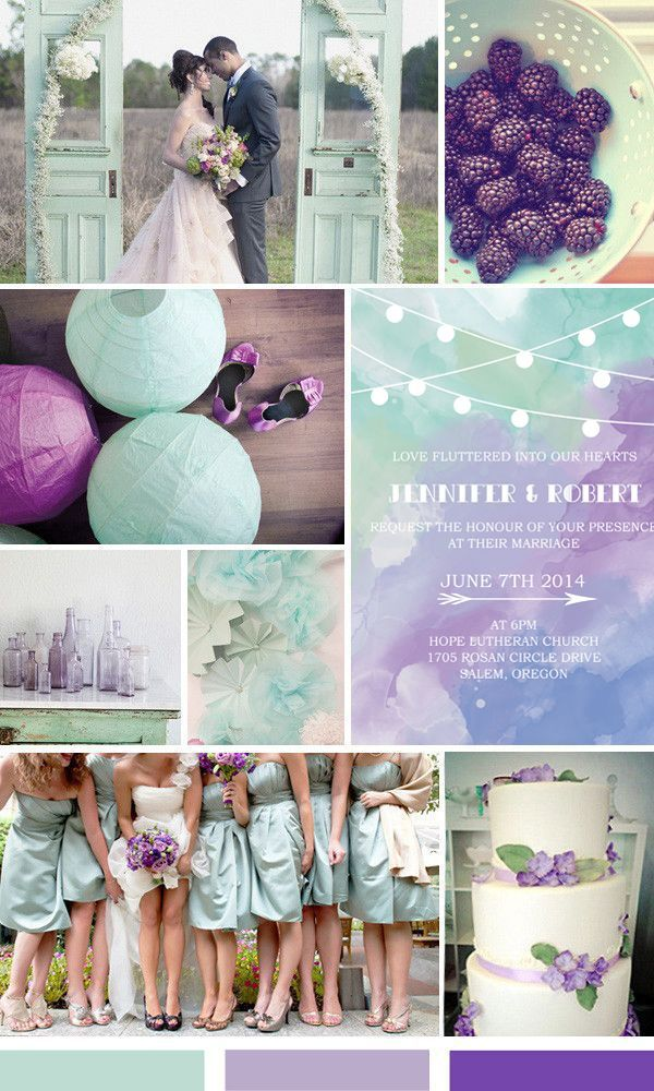 shades of mint green and purple wedding color ideas