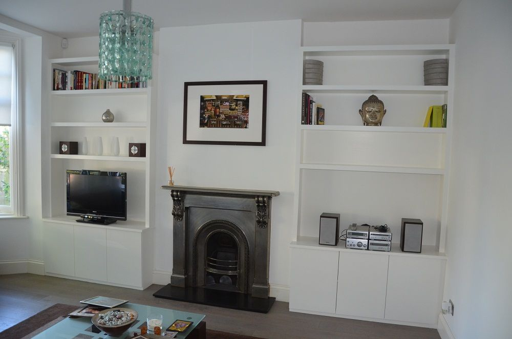 Alcove Cupboards And Shelving With More Modern Style I Think More Classic Would Look Better