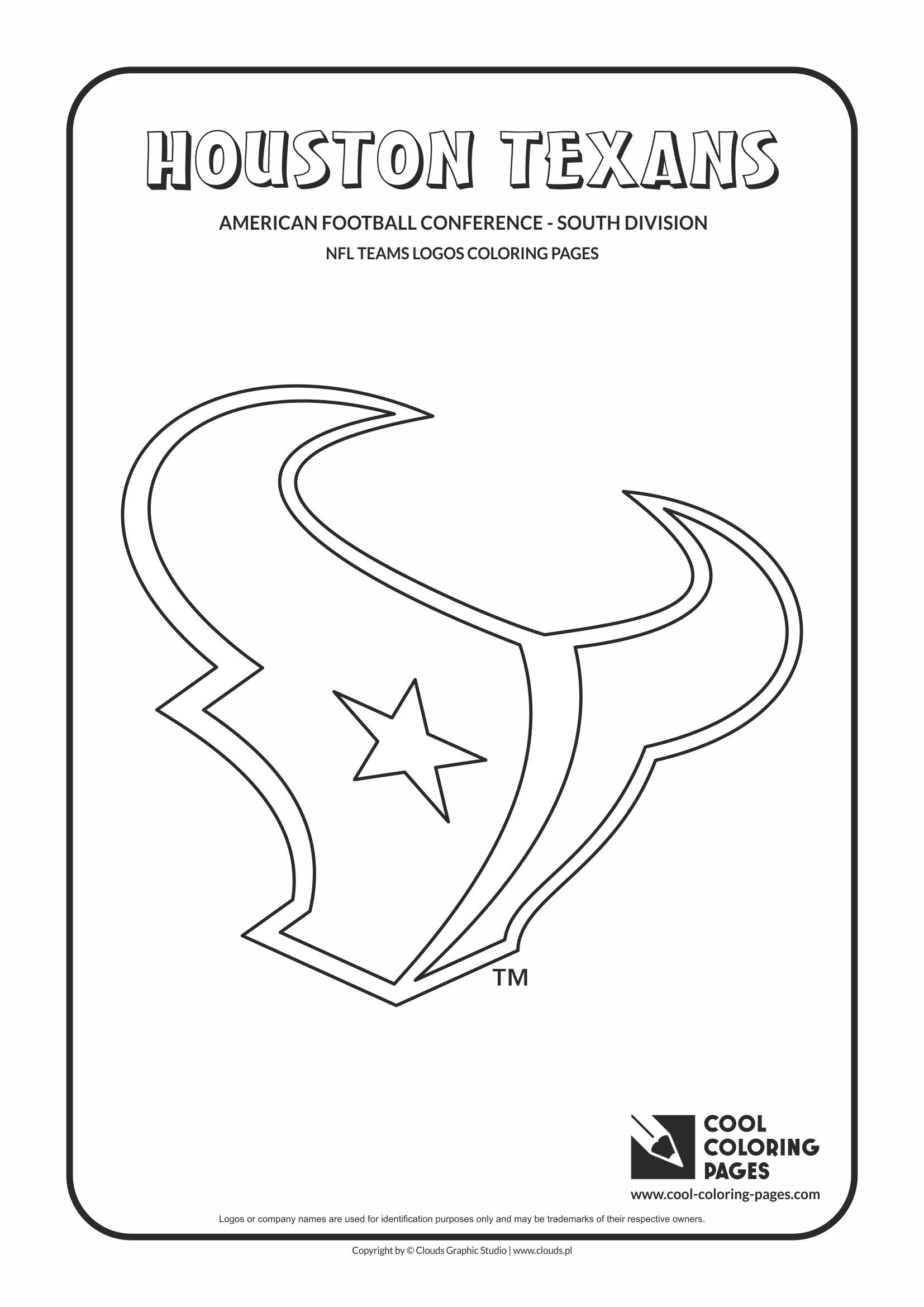 Houston Texans Nfl American Football Teams Logos Coloring Pages