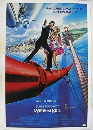 Roger Moore Signed James Bond A View To Kill 24x36 Movie Poster