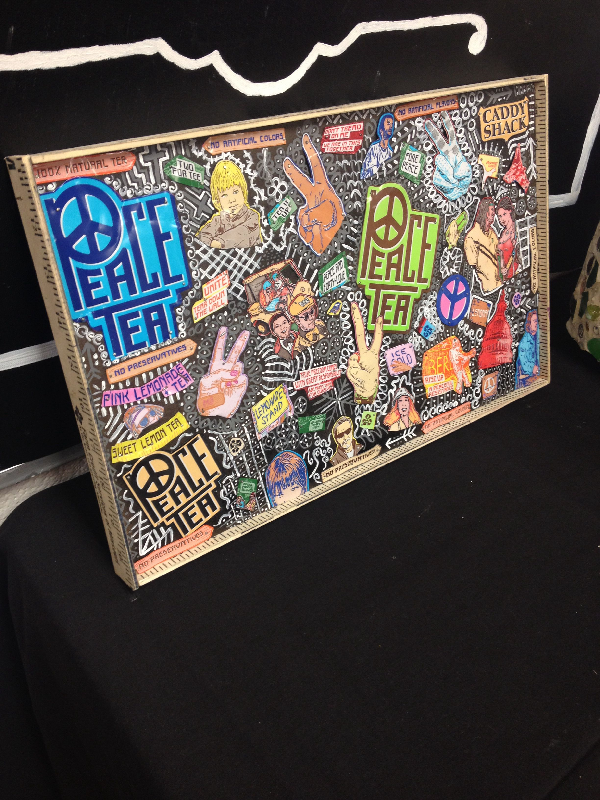peace tea cans mosaic w doodles and a ruler frame made in art class 2014 inspiring art. Black Bedroom Furniture Sets. Home Design Ideas
