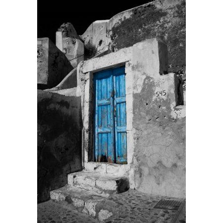 Colorful Blue Door Oia Santorini Greece Canvas Art - Darrell Gulin DanitaDelimont (11 x 17)