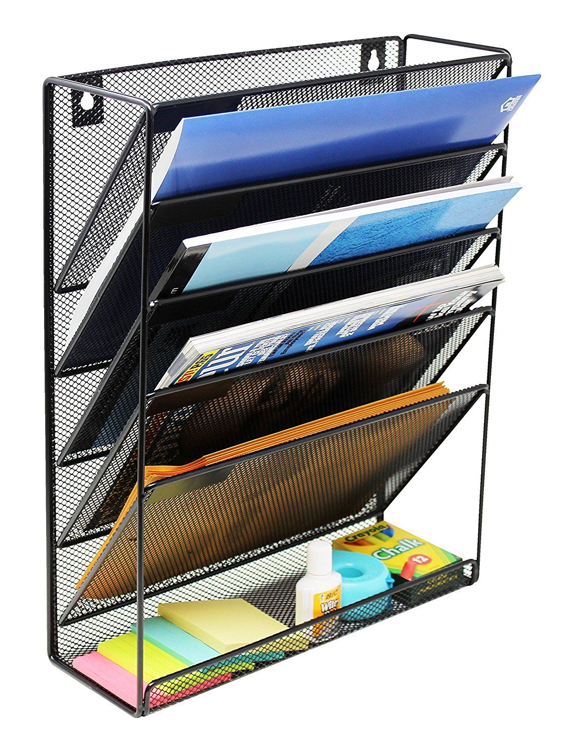 AmazonSmile : Mesh Wall Mounted Hanging Document U0026 File Organizer   5  Compartment Vertical Magazine Rack