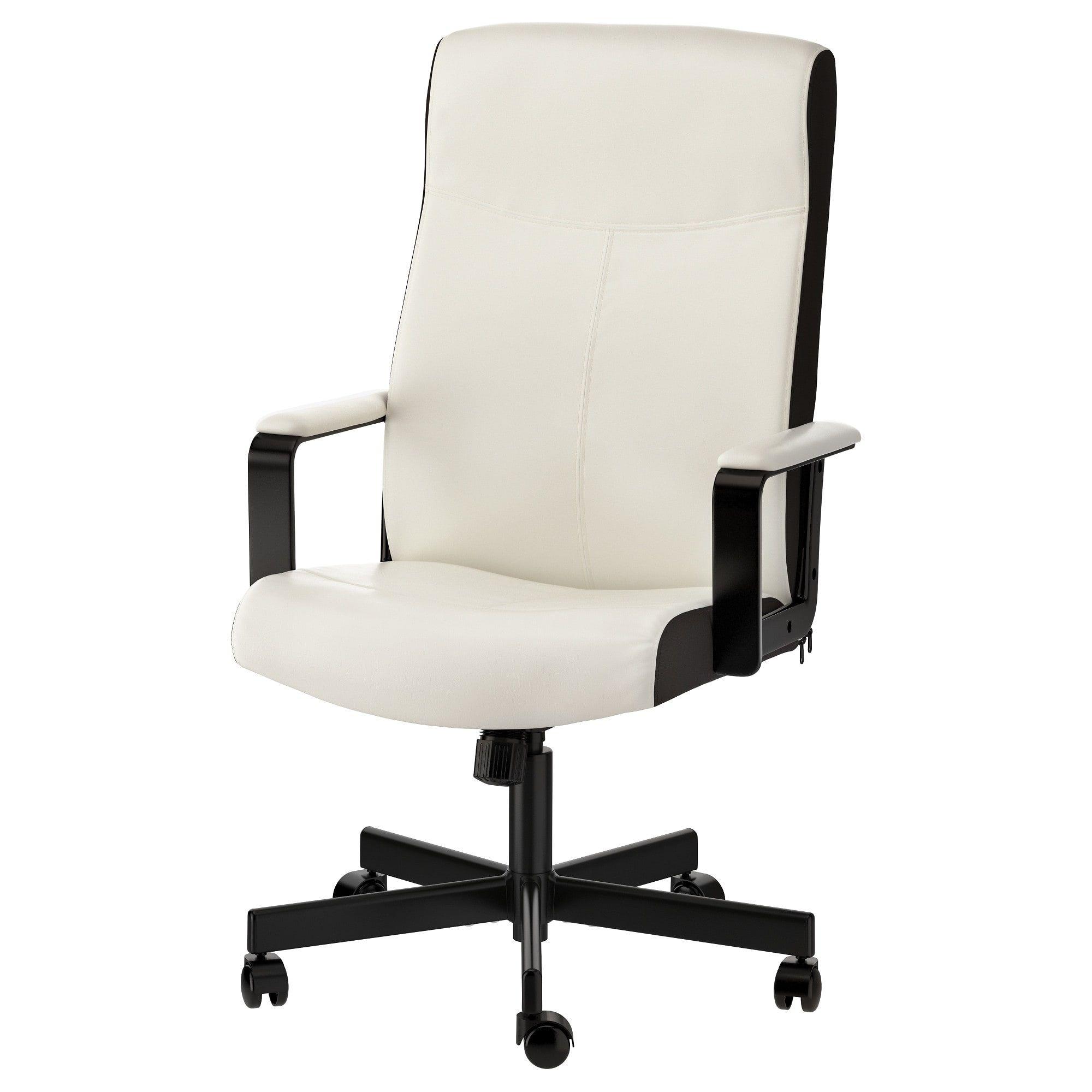 MILLBERGET Swivel chair Kimstad white White desk chair