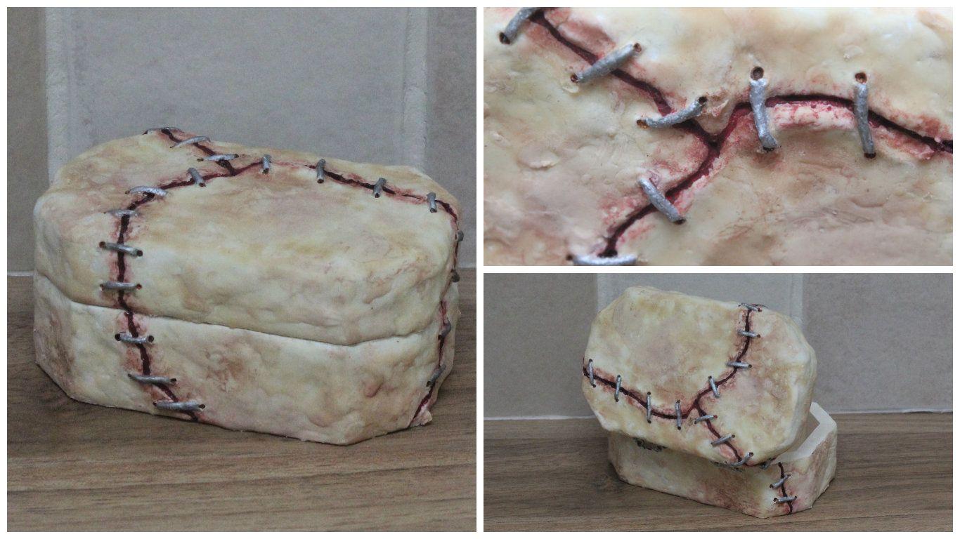 Human Skin Flesh trinket box with stitches
