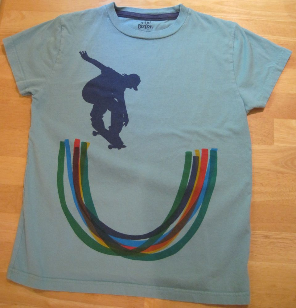 Boden~Boys~Size 11 12~Blue Orange Red Green Skate~Short Sleeve Tee Shirt #MiniBoden #Everyday