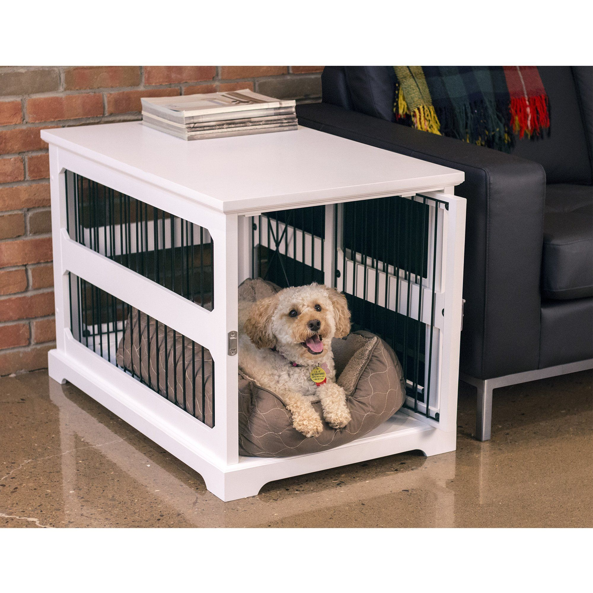 Zoovilla Slide Aside Crate And End Table In White 35 43 Dog Crate End Table Dog Furniture Pet Crate