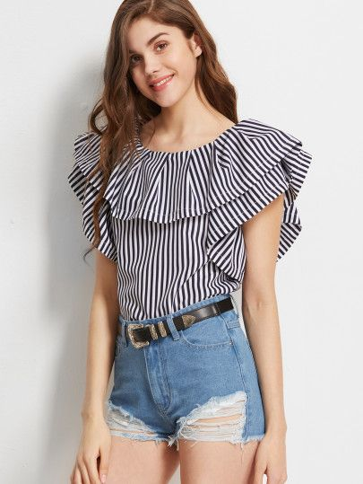 bb0f133d50717 Navy And White Striped Ruffled Boat Neck Top