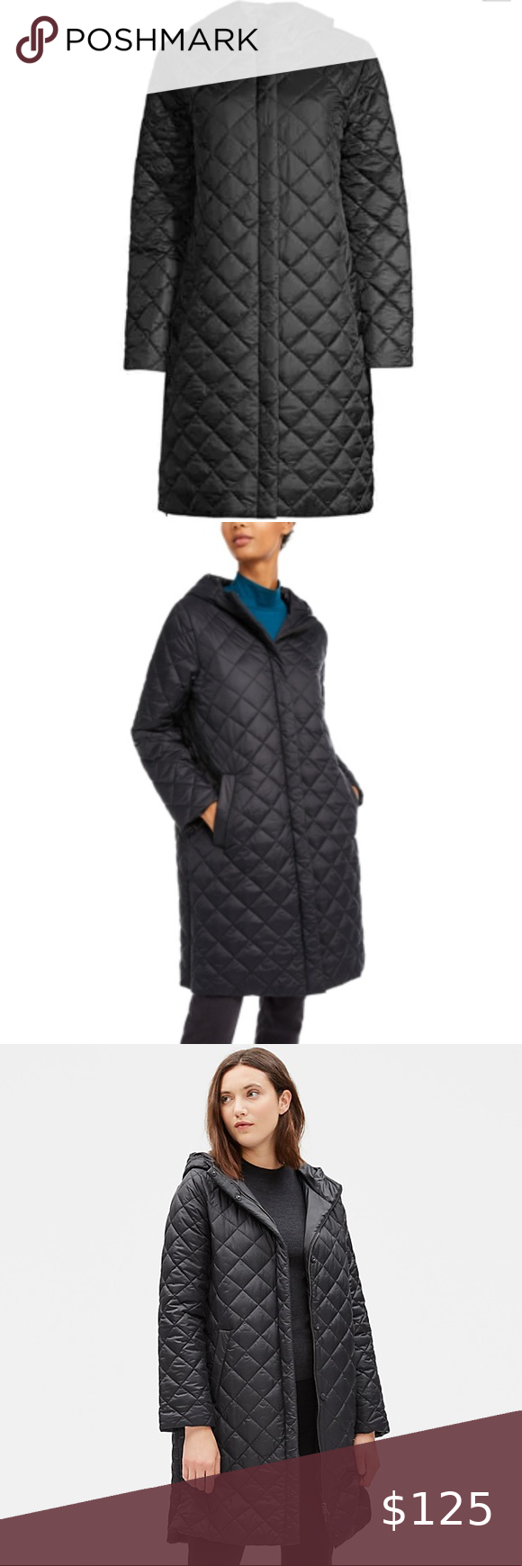 Eileen Fisher Hooded Diamond Quilted Black Coat Perfect Black Coat Love The Eileen Fisher Brand The Softness Of This Black Coat Clothes Design Quilted Coat [ 1740 x 580 Pixel ]