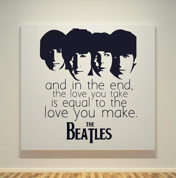 The Beatles   The End Song Quotes   20X20 Canvas Frame   Pop Art