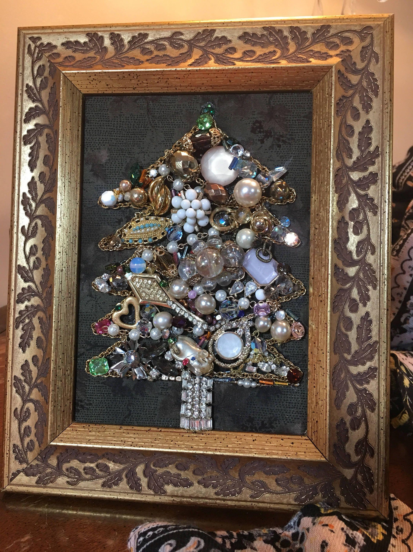 Vintage Jewelry Christmas Tree Framed Art Wonderful Glass Beads, Pearls