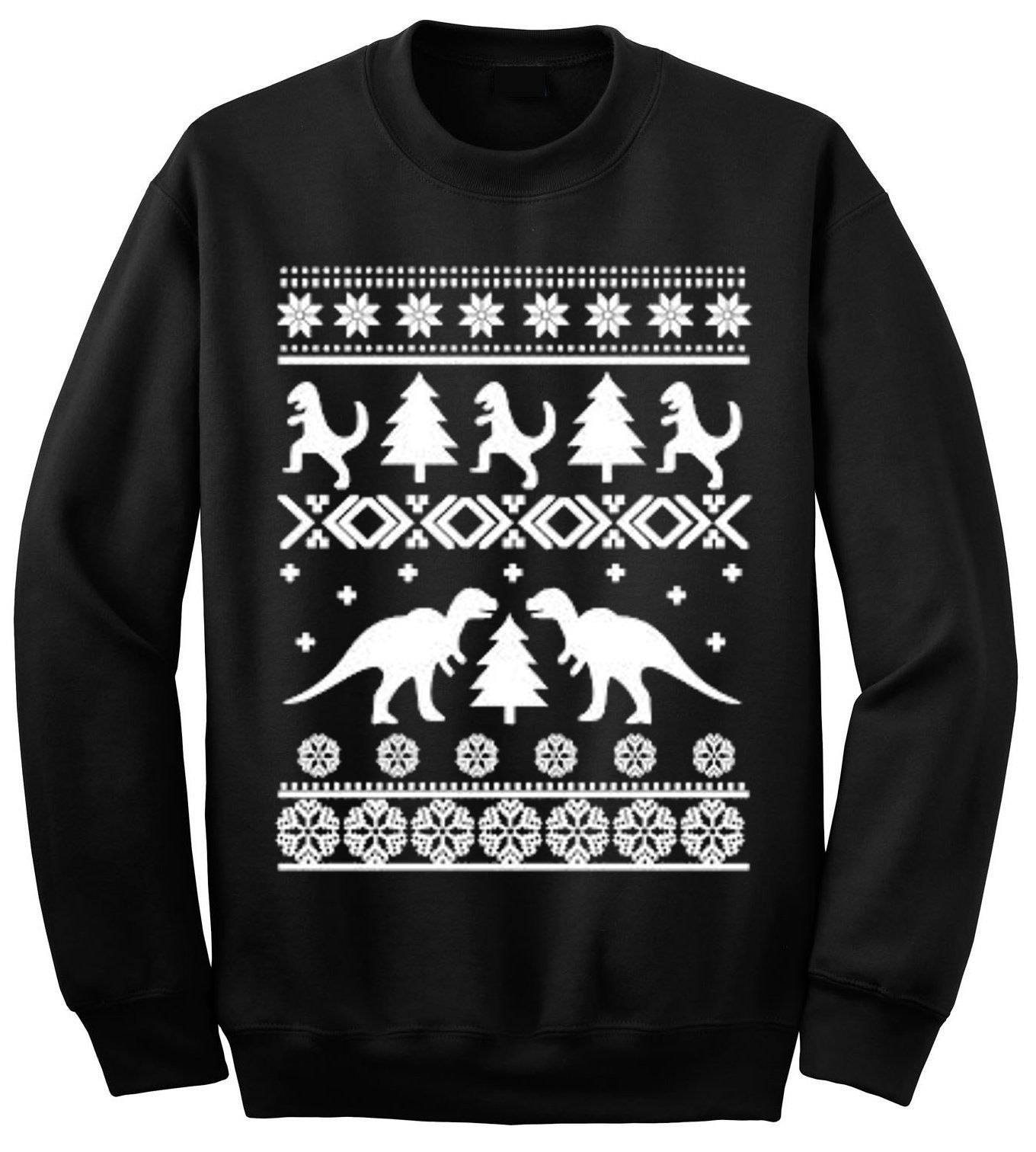 Adult Dinosaurs T Rex And Trees Ugly Christmas Sweater Crewneck Large