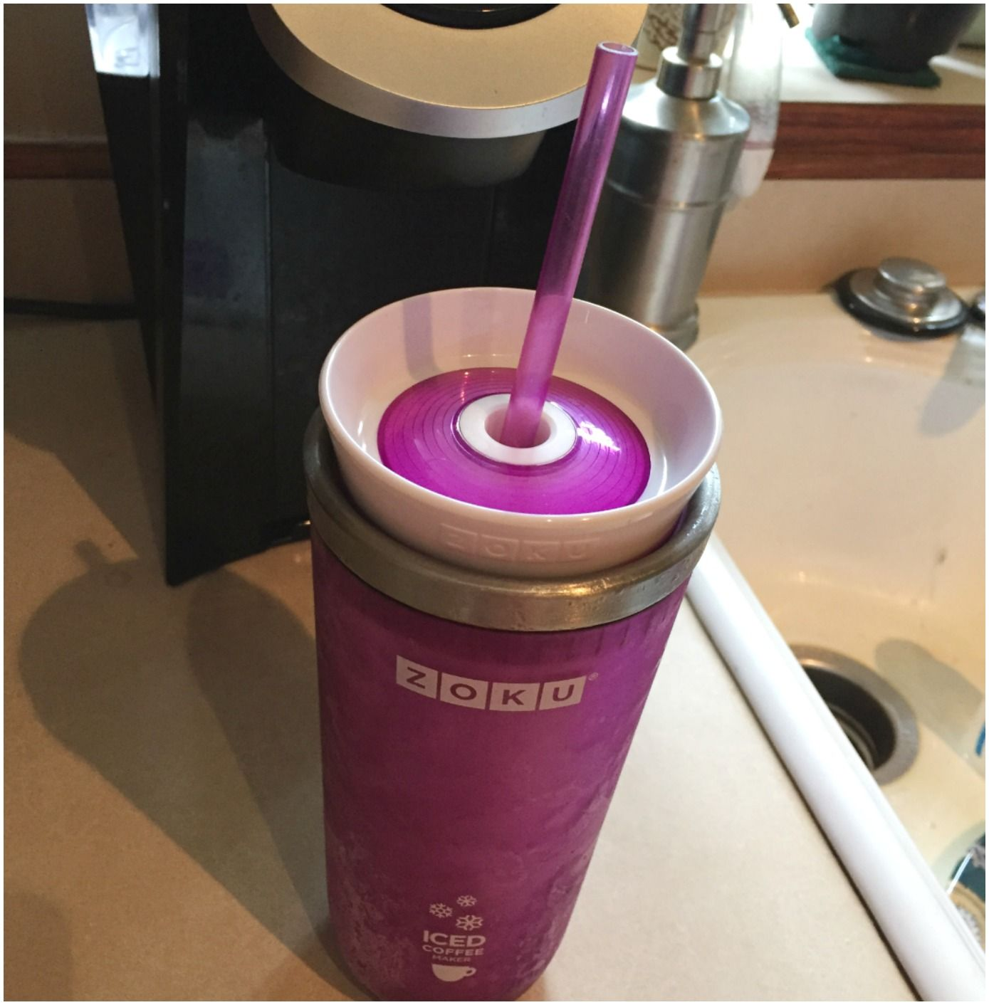 All you have to do is put the iced coffee maker in the freezer. And then pour piping hot coffee in. In literally 2 minutes you have freezing cold coffee, full strength. AMAZING. I seriously cannot say enough. It really does turn it cold right away - it's absolutely a must have for any coffee drinker.