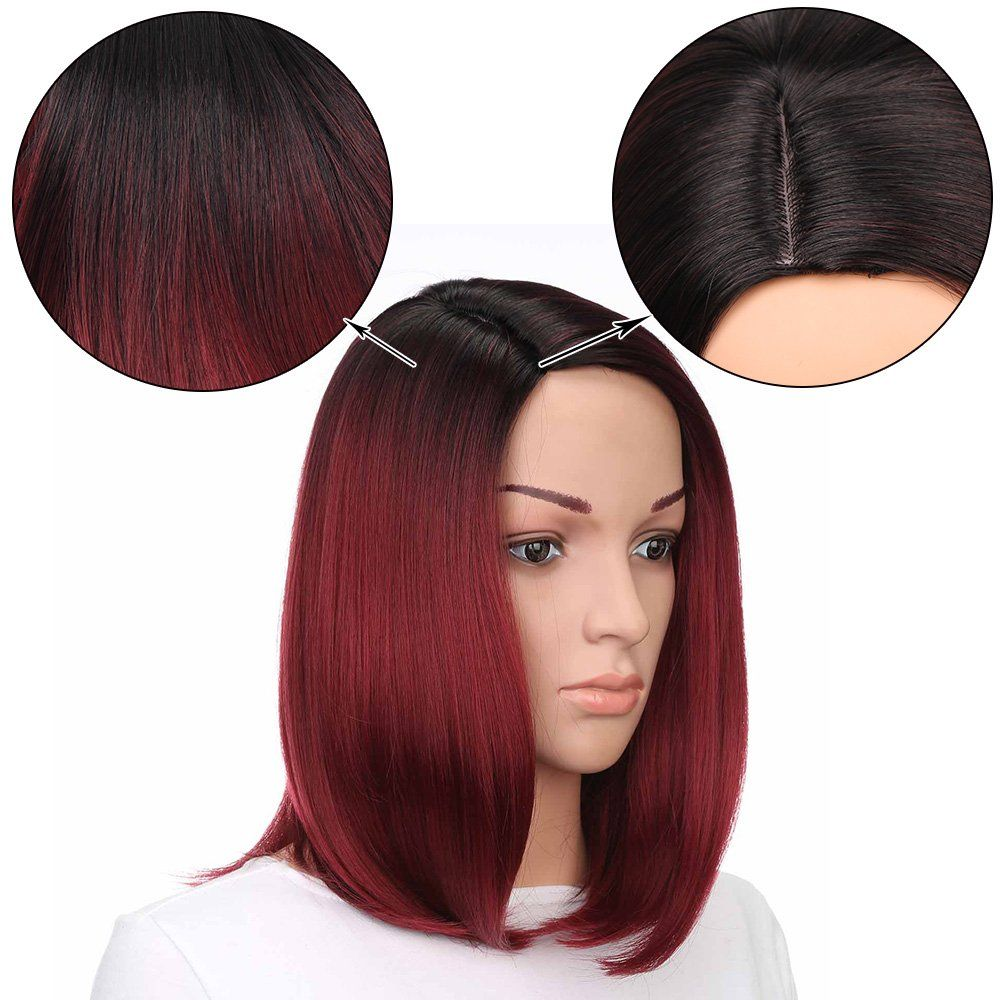 Aisi hair synthetic bob wig ombre short wig straight red wigs for