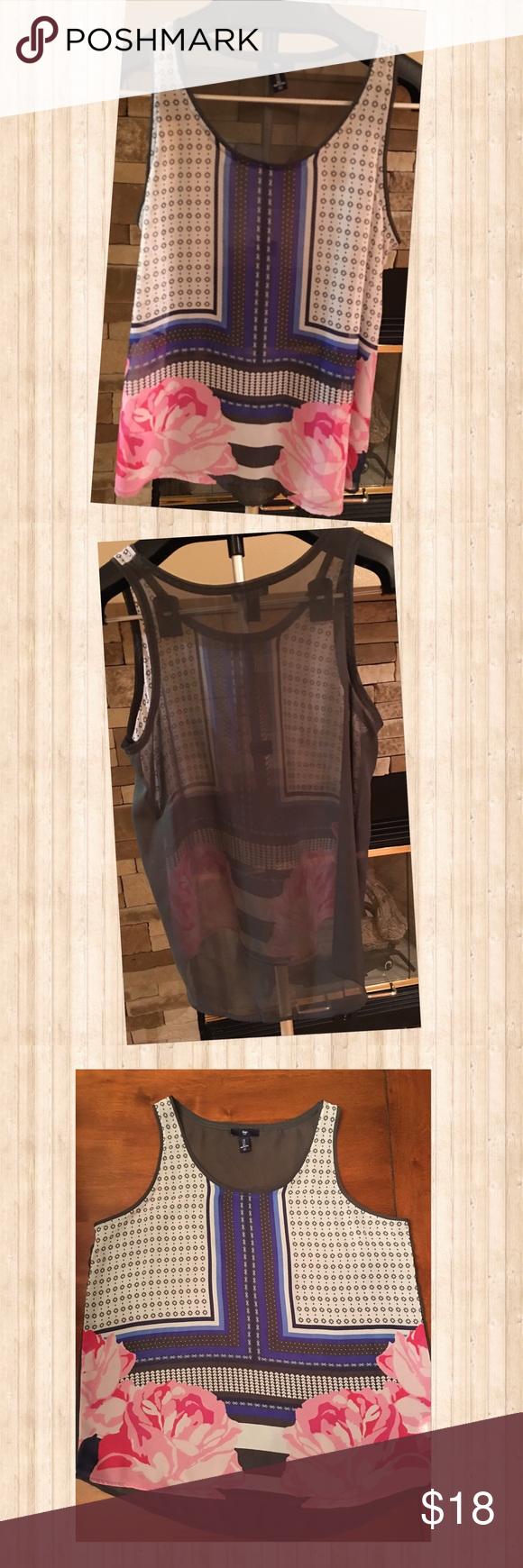 Floral Sheer Gap Tank Beautiful floral print sheer Gap tank.  Has gorgeous neutral colors with a pop of pink.  Light and airy, would be gorgeous under a cardigan for a great fall look! GAP Tops Tank Tops