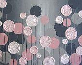 Wall Art, Lavender Purple and Grey Modern Nursery Art, Impasto Acrylic on Canvas, Made to Order