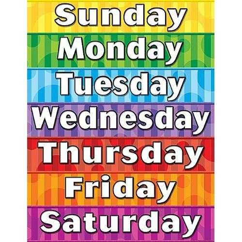 photograph about Printable Days of the Week named cost-free printable times of the 7 days chart - Sinma