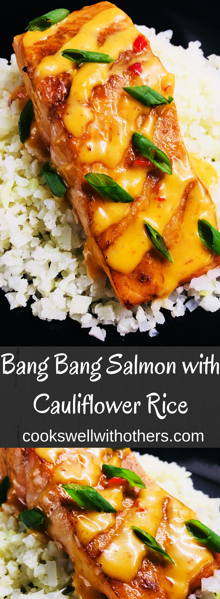 salmon on top of cauliflower with special bang bang sauce is an easy way to make a quick healthy dinner. #healthy #dinner #5ingredients