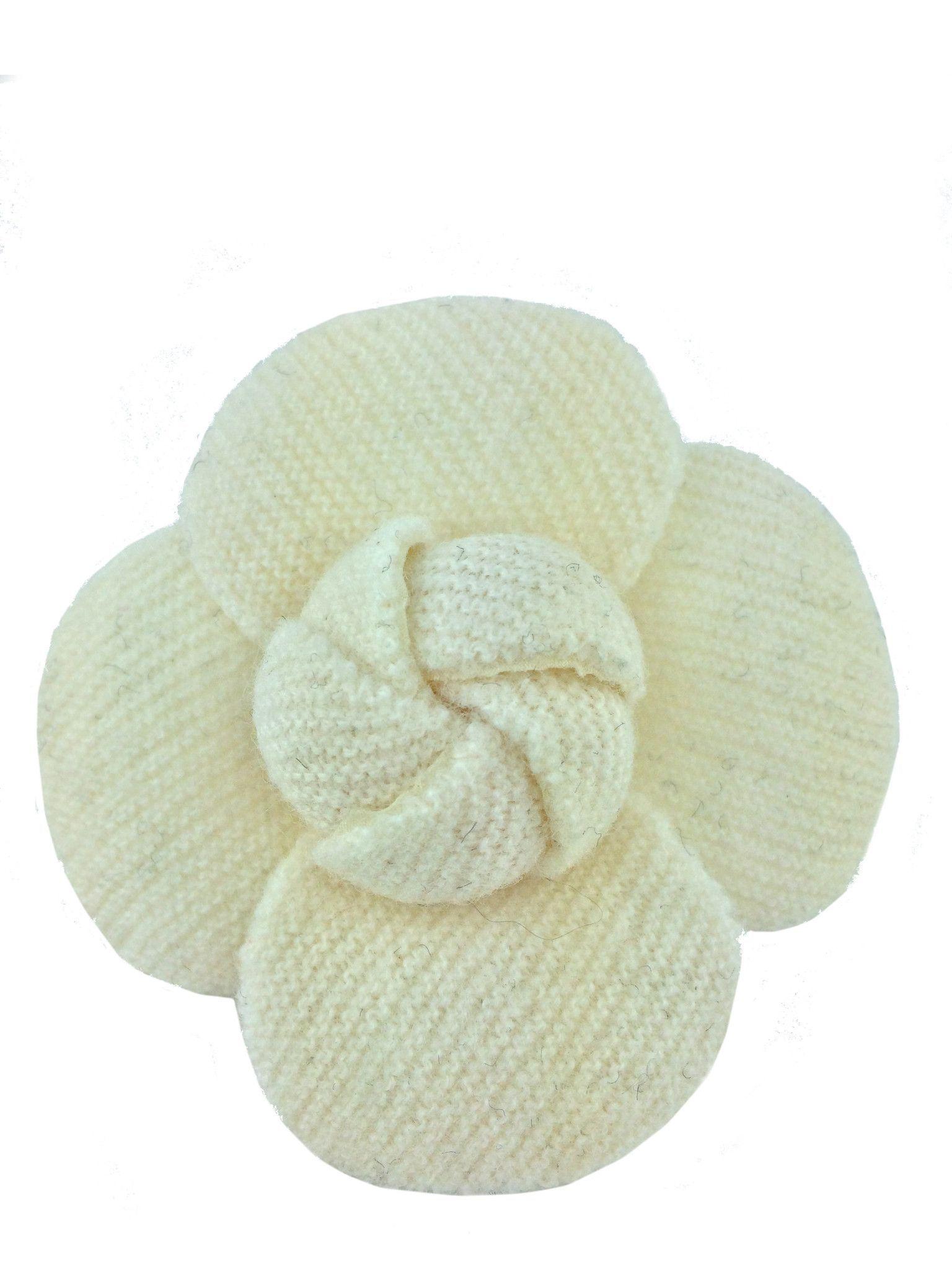 Chanel Tweed Camellia Flower Brooch Pin