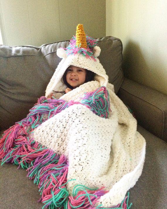 Ready to ship! Sparkling Hooded unicorn blanket, unicorn blanket ...