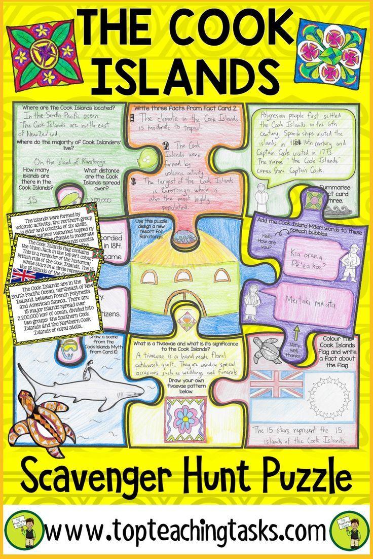 Cook Islands Scavenger Hunt Puzzle Activity Cloze Reading Cook