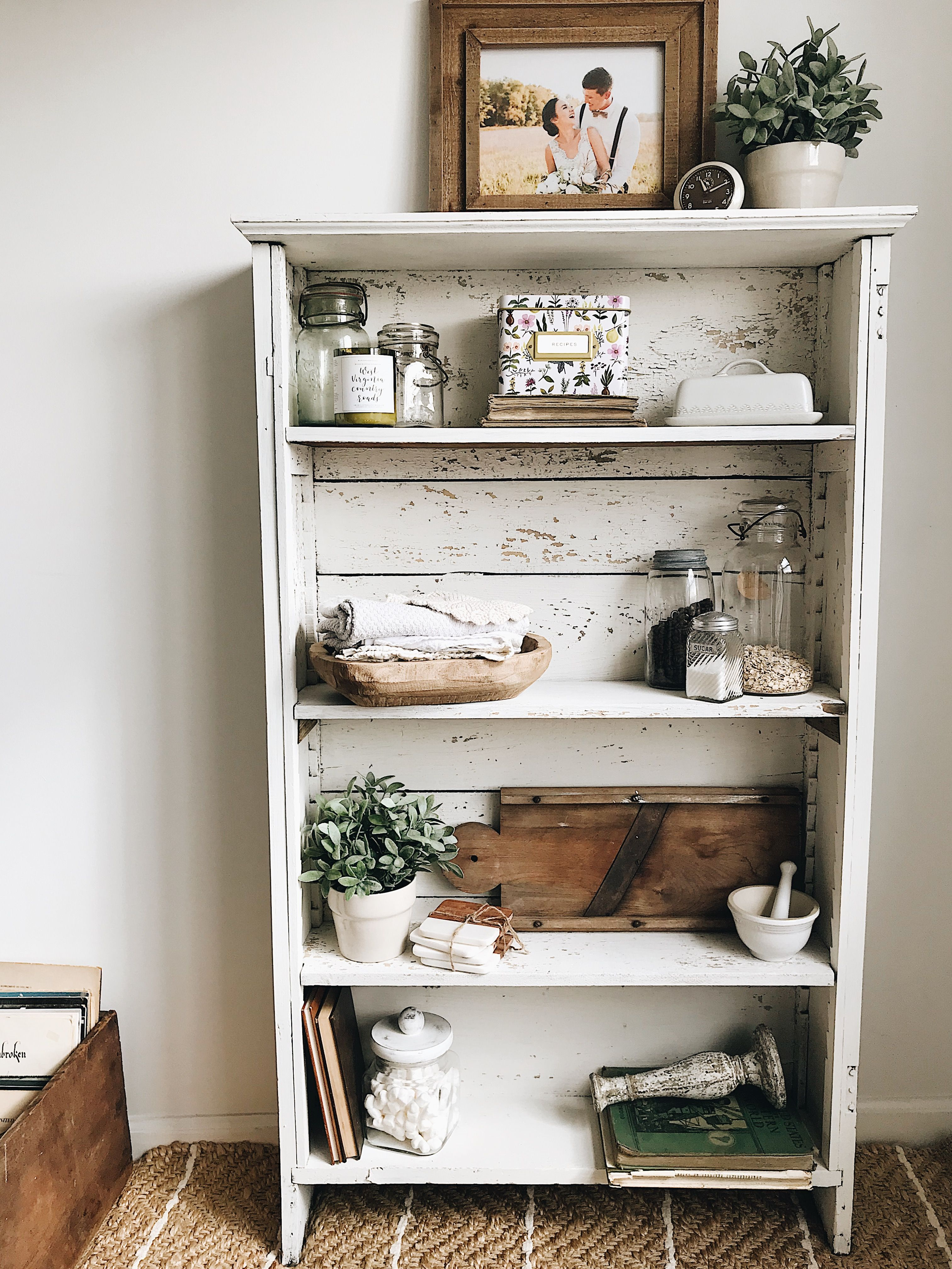 Milk paint bookshelf decor chippy white farmhouse rustic
