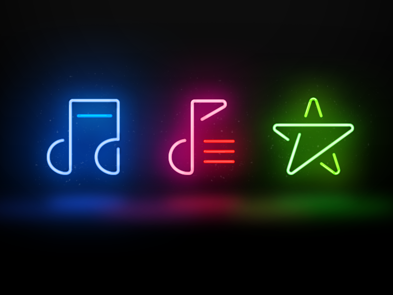 Neon Music Icon