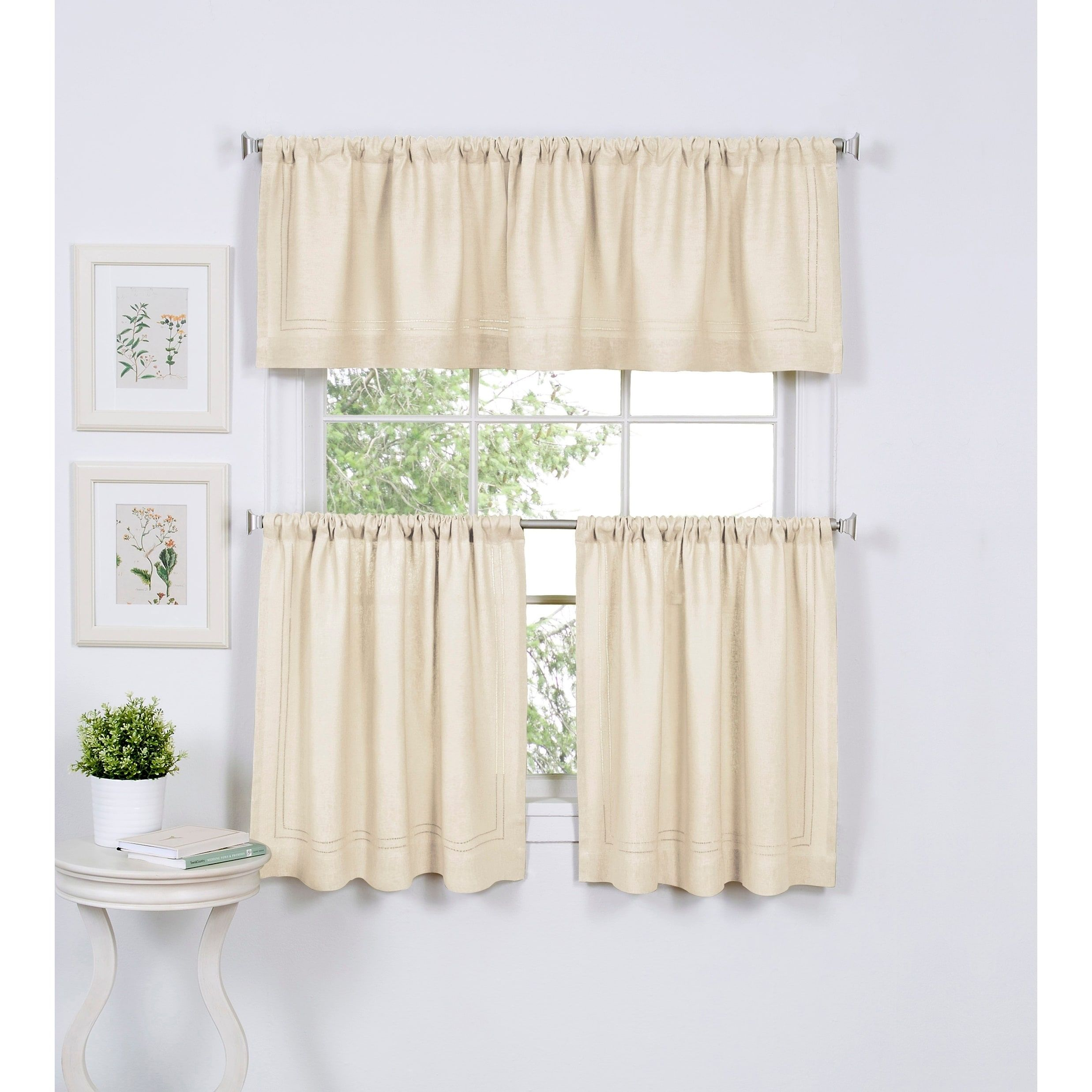 Elrene Cameron Rod Pocket Kitchen Tiers Set Of Two 30 W X 36 L Ivory Linen Solid Curtains Valance