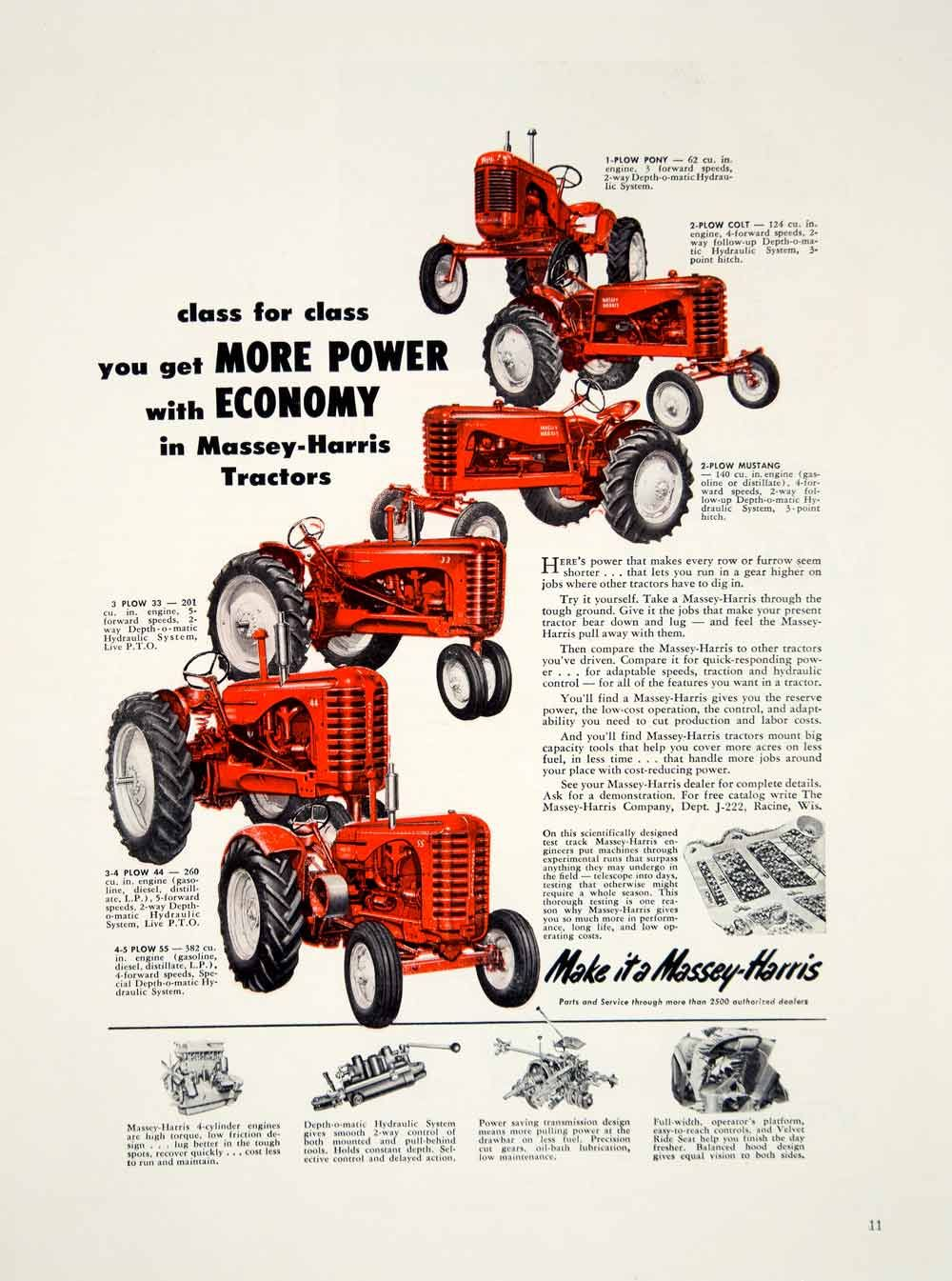 1953 Ad Massey-Harris Tractor 33 44 55 Colt Mustang Pony Models Machinery  Farm