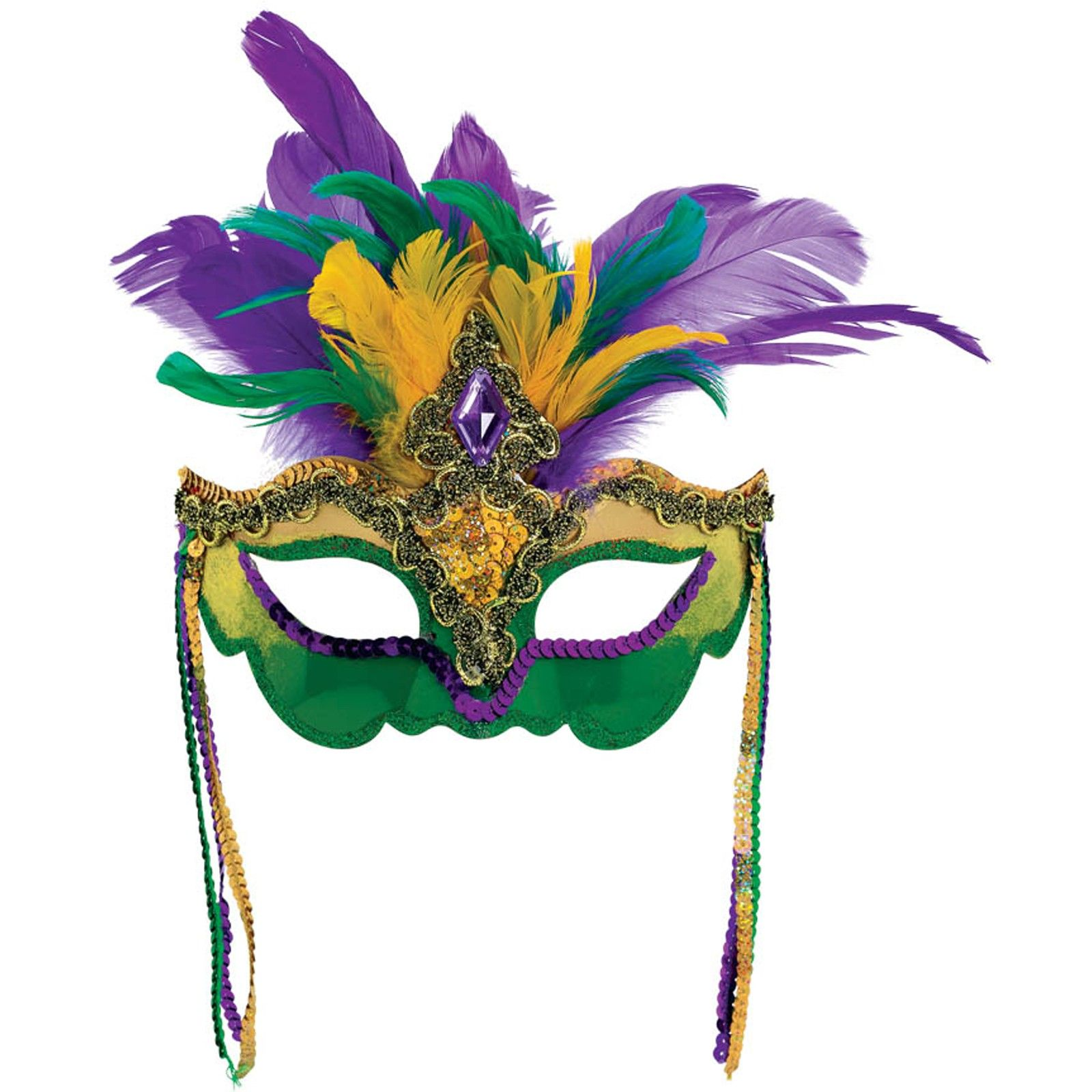Mardi Gras Masquerade Feather Stick Pair New Orleans Carnival Parade Party