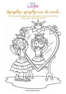 Grote Kleurplaten Prinsessen.Kleurplaat Voor De Spiegel Prinses Prinsessen En Spiegel