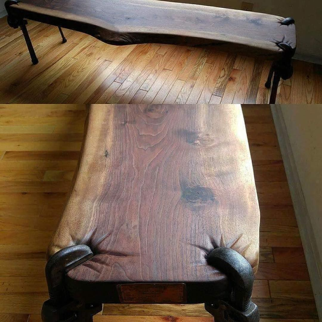 Bench Trophy Wood Slab 4 Antique Monkey Wrenches And